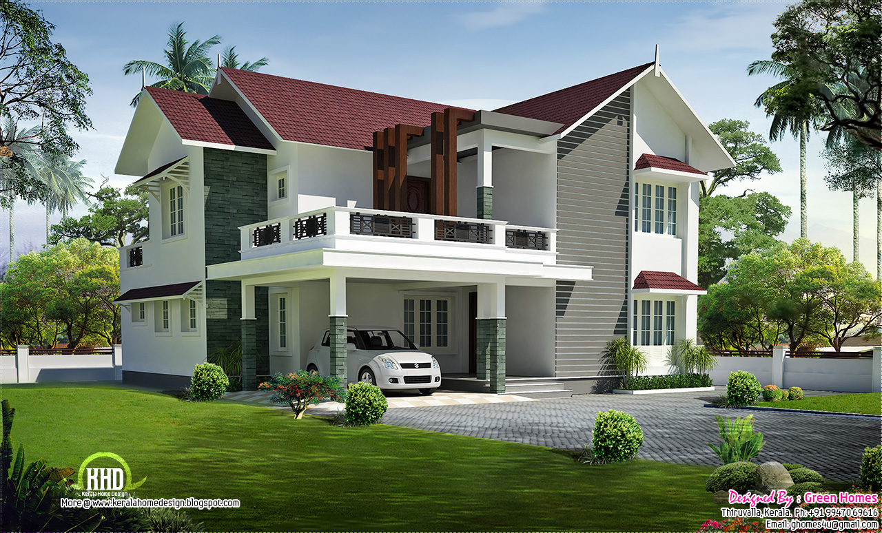 Beautiful sloping roof villa kerala house design idea for House beautiful homes