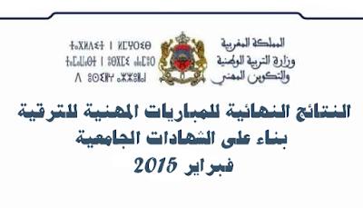 النتائج النهائية للمباريات المهنية للترقية بناء على الشهادات الجامعية – فبراير 2014