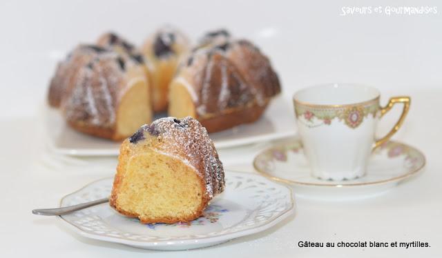 Gâteau au Chocolat Blanc et Myrtilles.