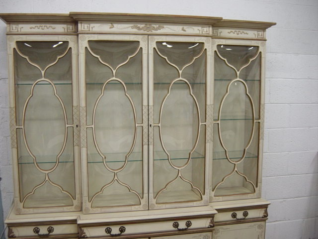 EXQUISITE PAINTED CHINOISERIE BUBBLE GLASS CHINA CABINET - Newport Avenue Antiques: EXQUISITE PAINTED CHINOISERIE BUBBLE GLASS