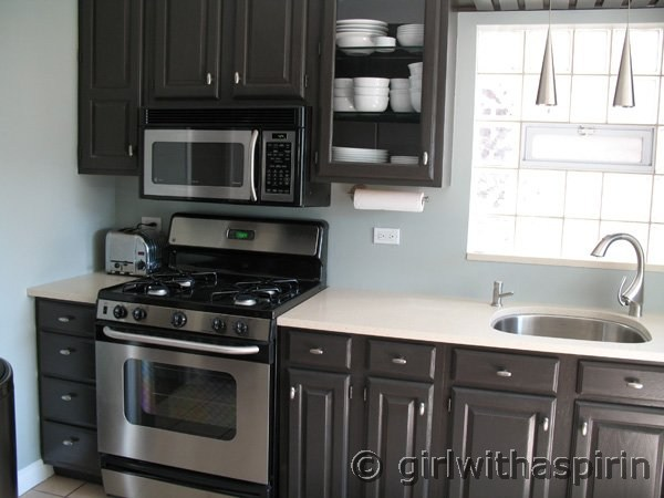 Finished kitchens blog girlwithaspirin 39 s kitchen for Grey and brown kitchen cabinets