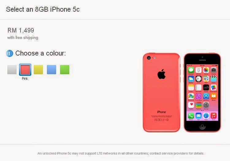 Harga iPhone 5C Di Malaysia - RM1499 (8GB)