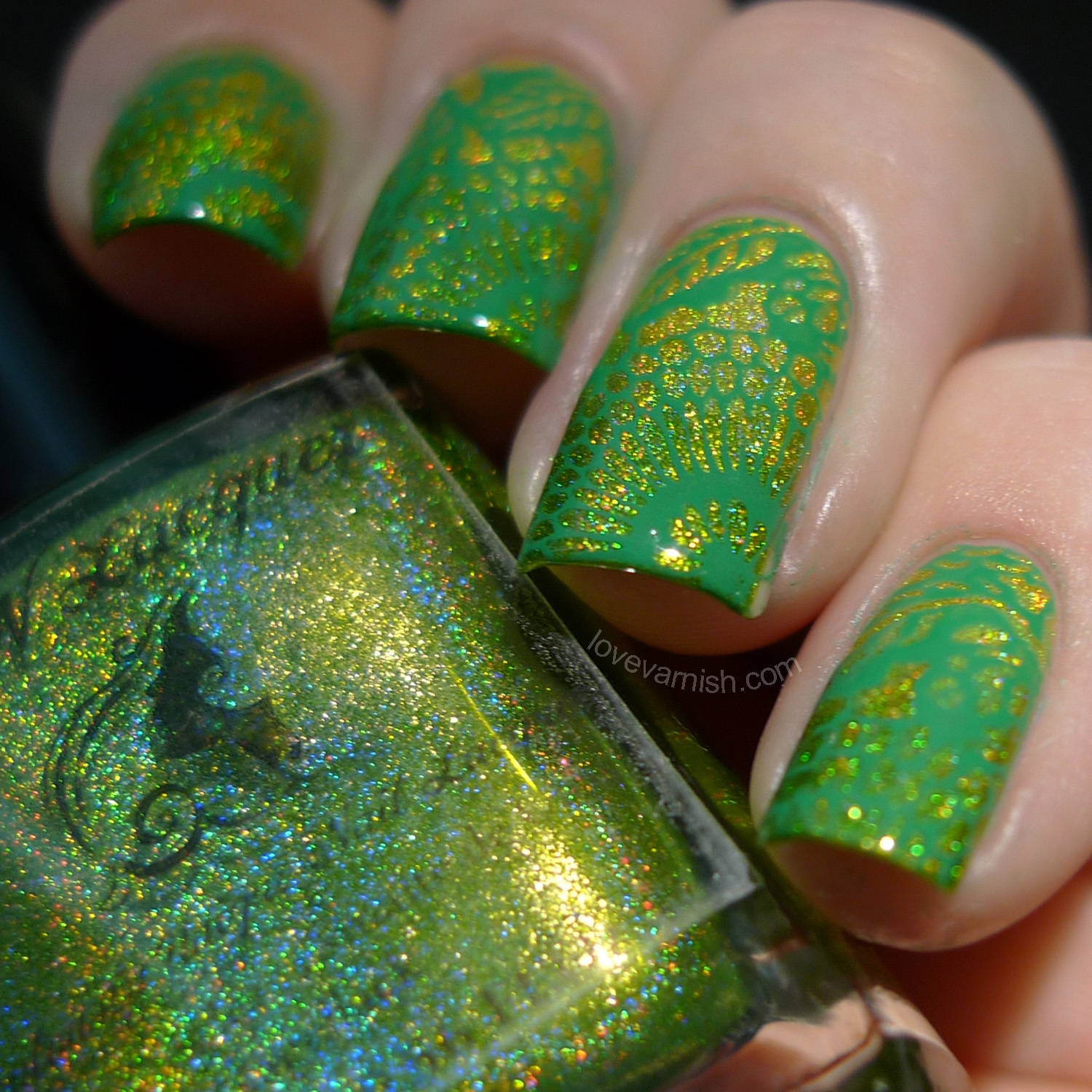 F.U.N Lacquer Margarita Cocktail and Mowed Meadow nail art stamping