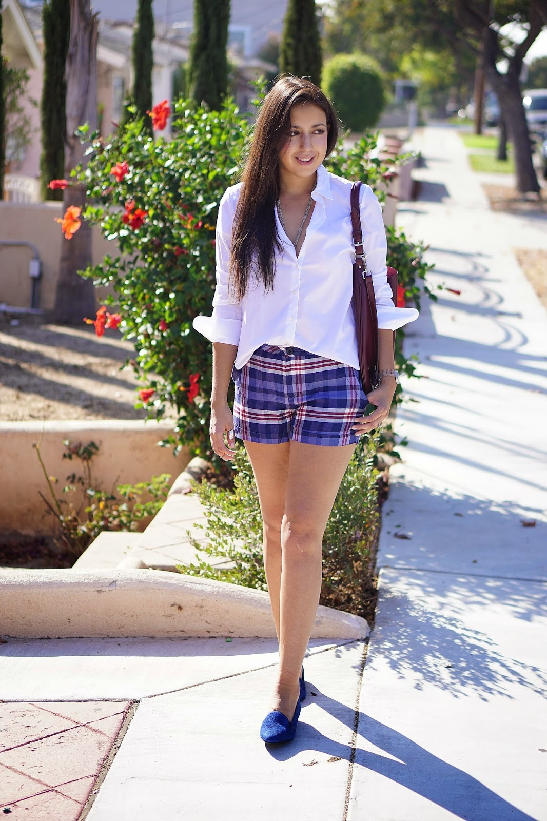 Piperlime, Moments of Chic, Joe Fresh, Joe Fresh White Button Up Shirt, White Button Up Shirt, Aldo Shoes, Blue Suede Shoes, TJ Maxx Purse, Burgundy Purse, MNG by Mango, Plaid Shorts,