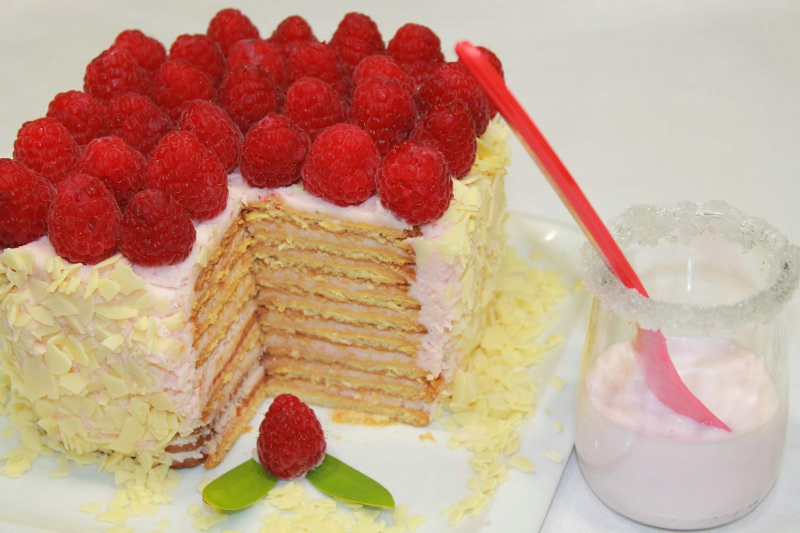tarta de galletas de mascarpone y frambuesas