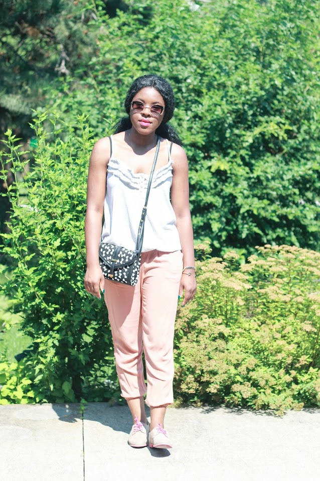canadian fashion blogger, H&M harem pants, ASOS satchel, Forever 21 sunglasses, target oxfords