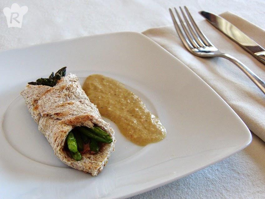 Pañuelos de foie, jamón y trigueros