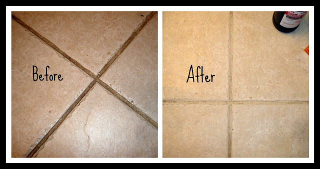 Clean grouting between tiles floor