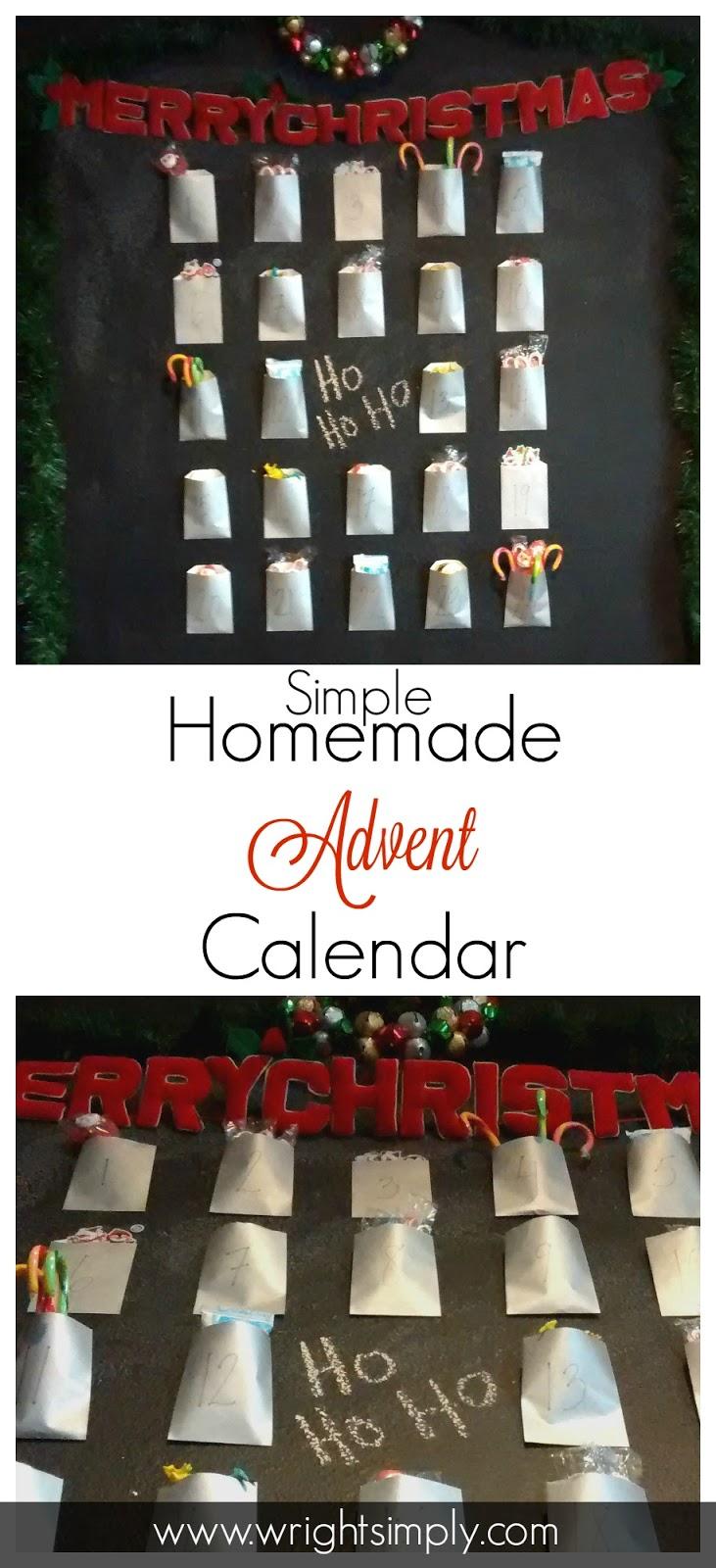 Homemade Calendars : Simply wright simple homemade advent calendar