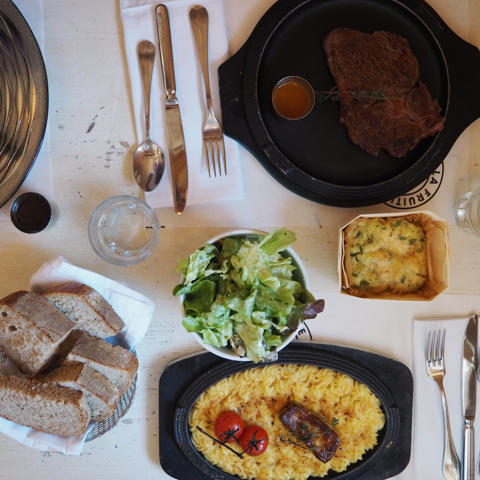 Flatlay of restaurant food at La Fruitiere, Val d'Isere, France