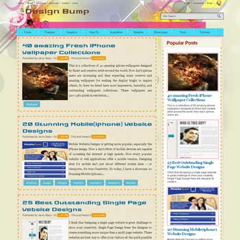 Design Bump blogger template. template blog 3 column footer