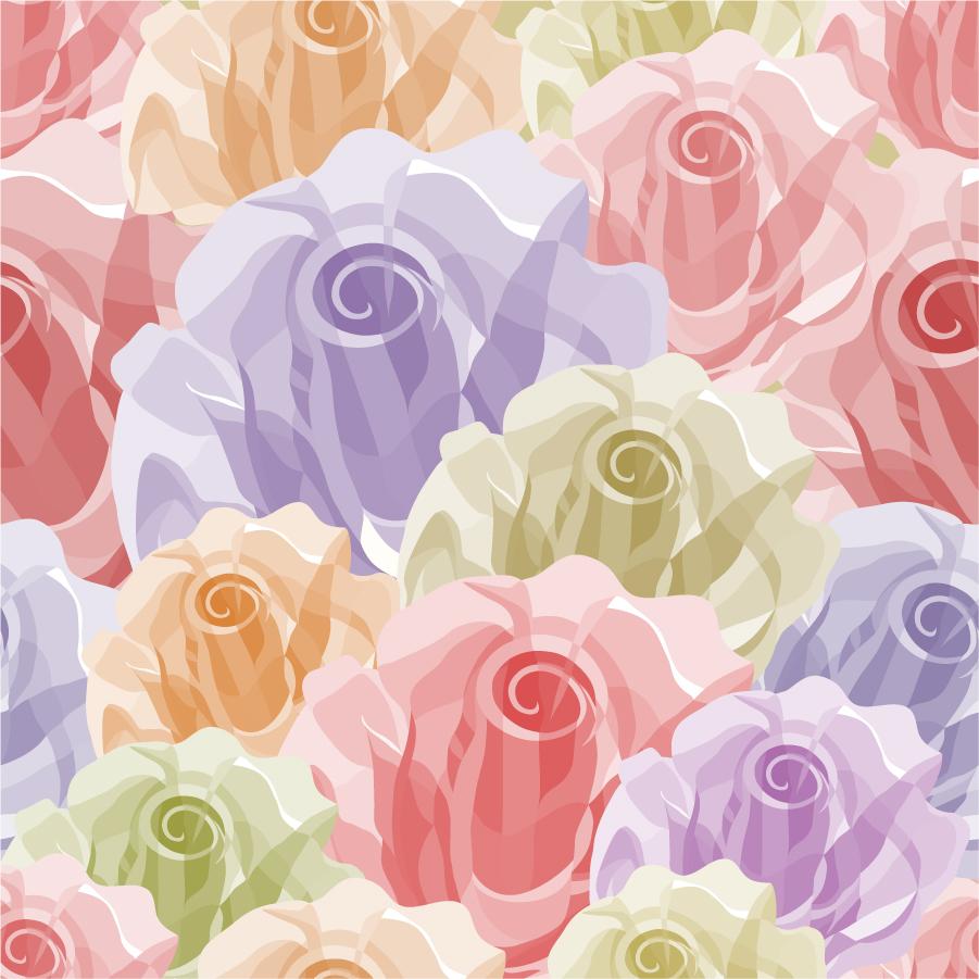 シームレスな淡い花ビラの背景 Seamless Flower Vector Background イラスト素材
