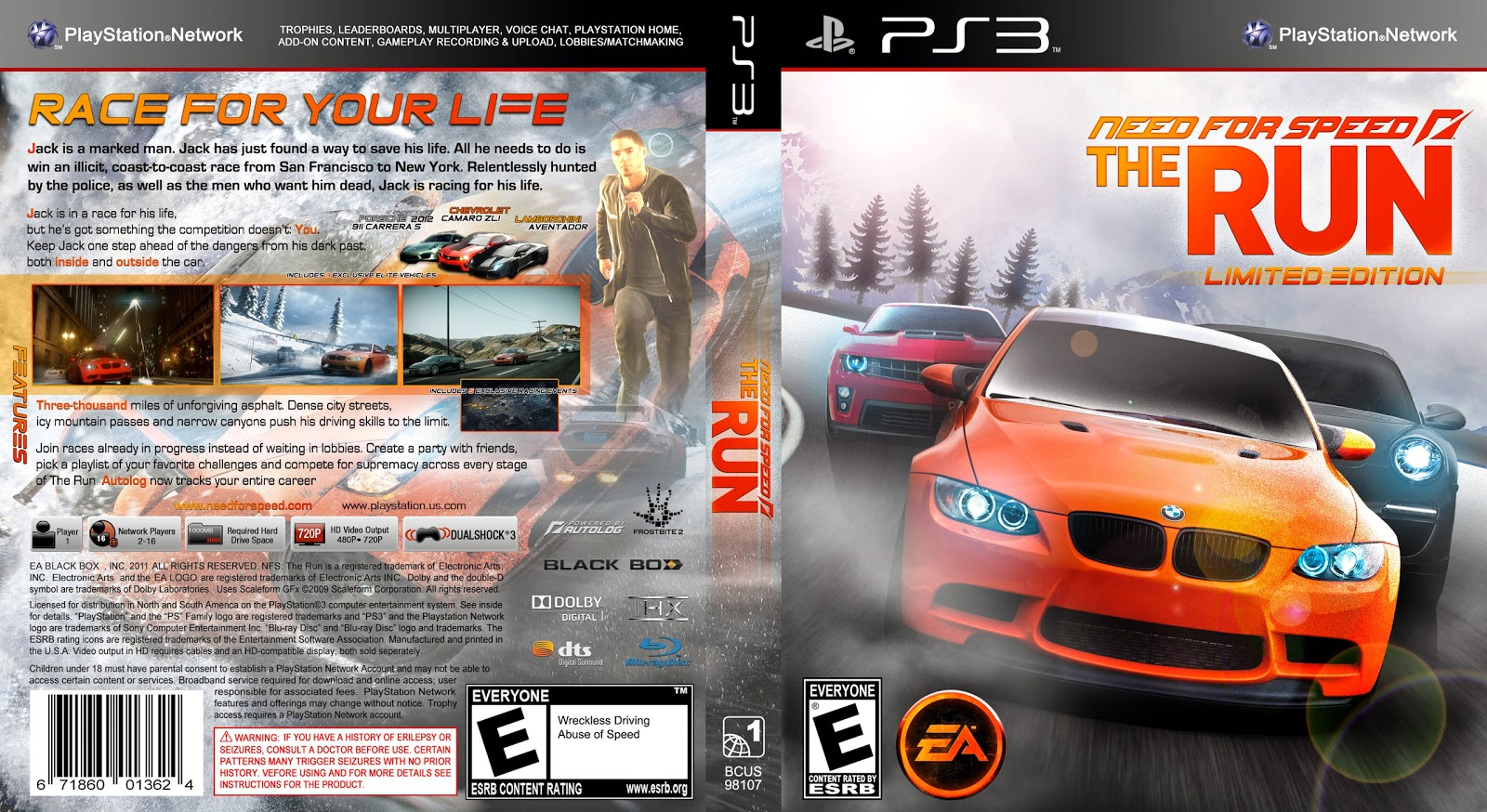 Capa Need For Speed The Run Limited Edition PS3