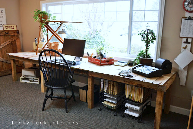 Pallet farm table styled office desk via Funky Junk Interiors