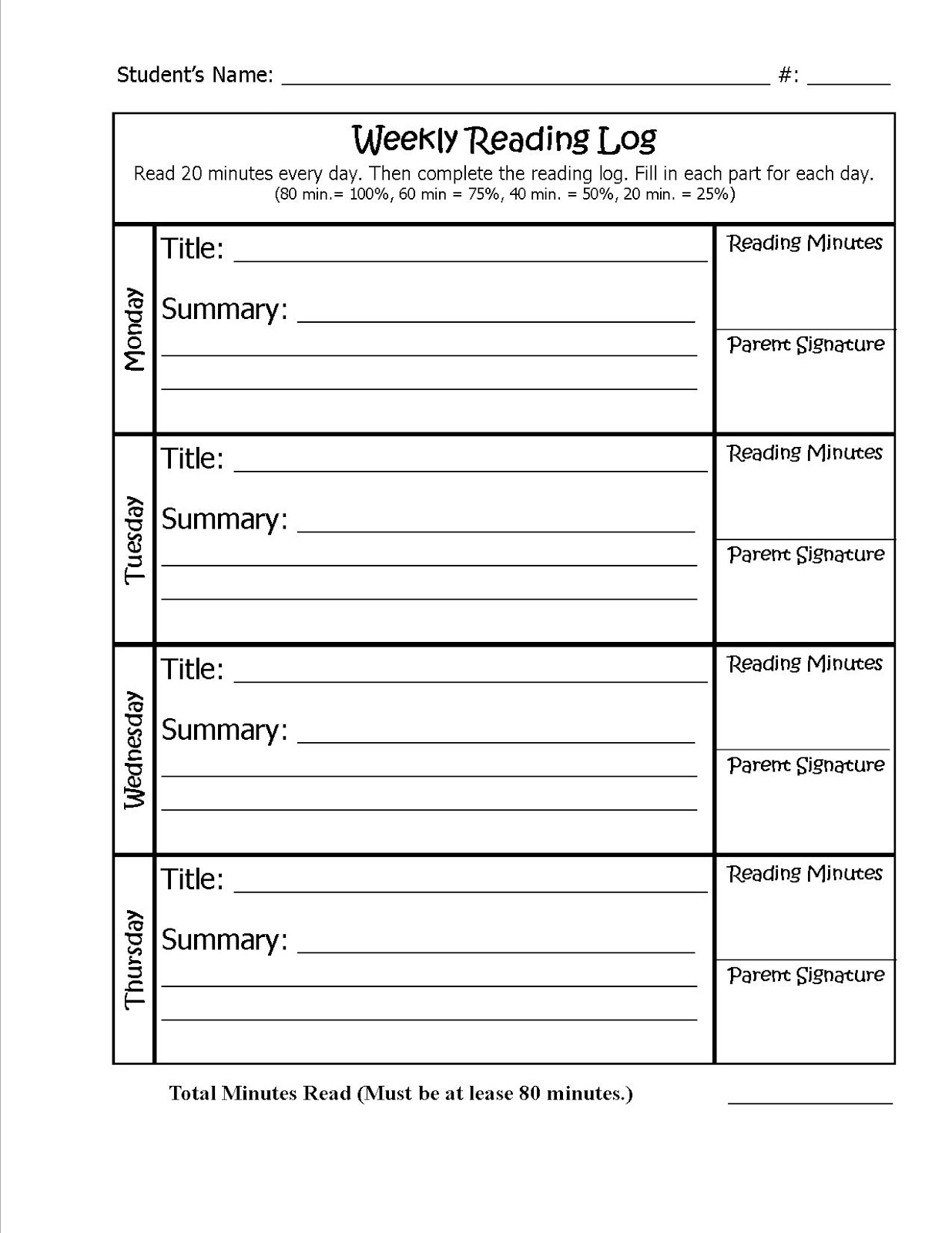 2nd grade reading log template