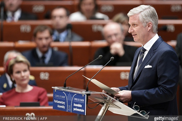 King Philippe - Filip of Belgium delivers a speech to the Parliamentary Assembly of the Council of Europe, in Strasbourg, eastern France