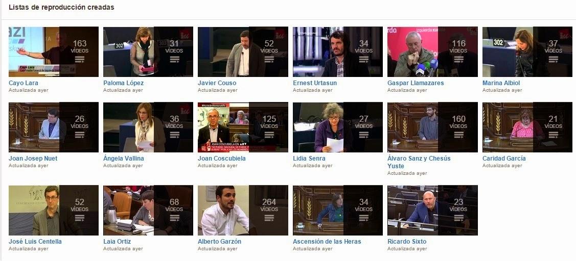 Izquierda Plural. Listas Reproducción de Vídeos.