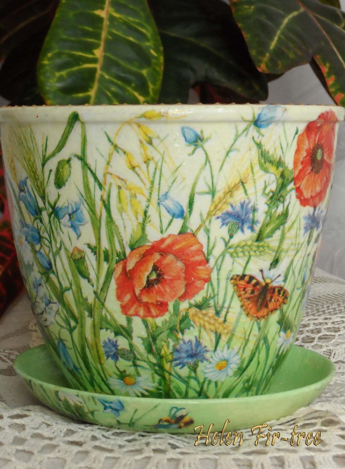 Helen Fir-tree декупаж цветочный горшок лето decoupage flowerpot summerot