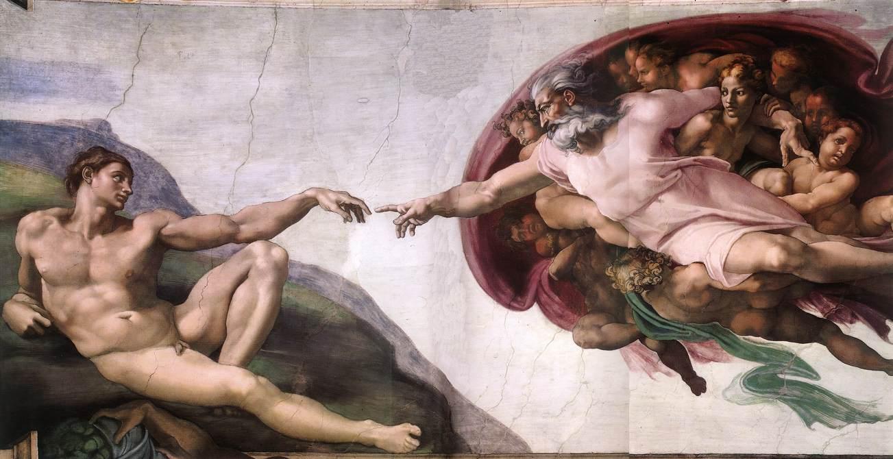 ... de Miguel Ángel la primera mujer nace de la roca viva y no de la
