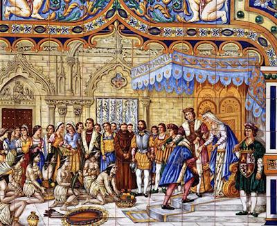 Recibimiento a Colón en Barcelona
