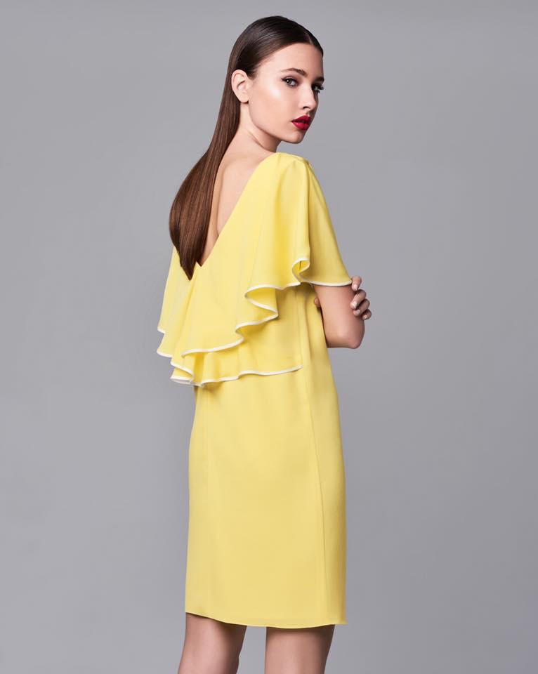 Φορεμα απογευματινο κιτρινο παστελ