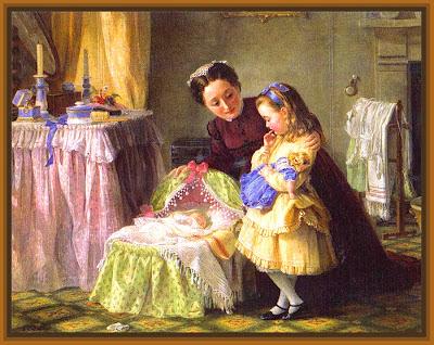 escena vintage con madre enseñando su bebé a su hija