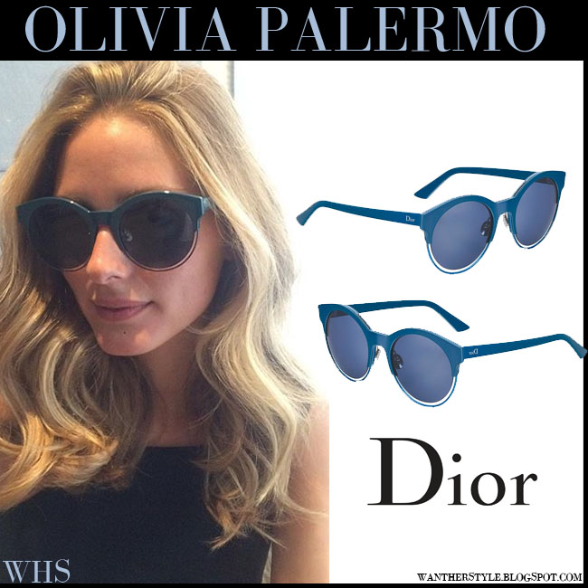 Olivia Palermo with blue green large round Dior Sideral sunglasses what she wore blonde long hair