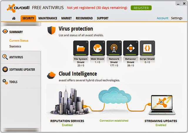 avast latest 2013 definitions to components 9 1497 free payable