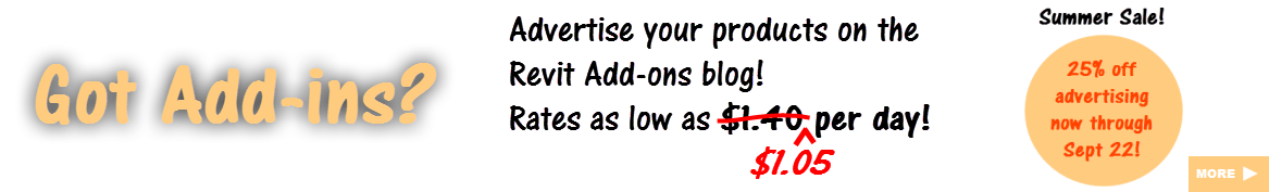 Advertise your Revit add-ins here!