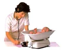 فحص عام للطفل الرضيع بعد بلوغة الإسبوع السادس، 9- تقدير الوزن: