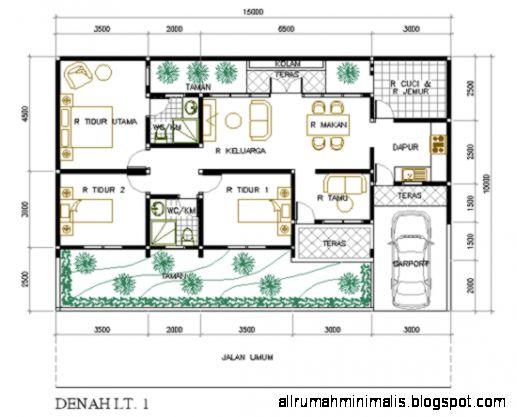 Denah rumah minimalis 3 kamar tidur 1 lantai  Cara Mendesain Rumah