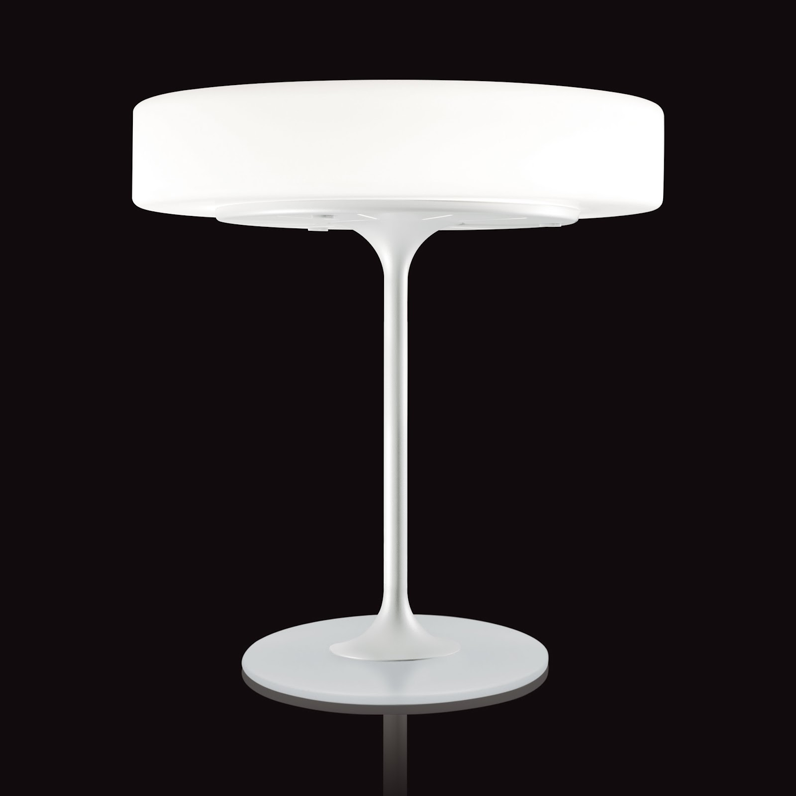 Charmant Minimal Modern Table Lamp With Tulip Base And White Glass Disc Shape    Glass Modern Table Lamp