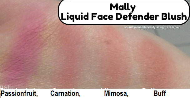 Mally Liquid Face Defender Blush, Review & Swatches of Shades Passionfruit, Carnation, Mimosa, Buff,