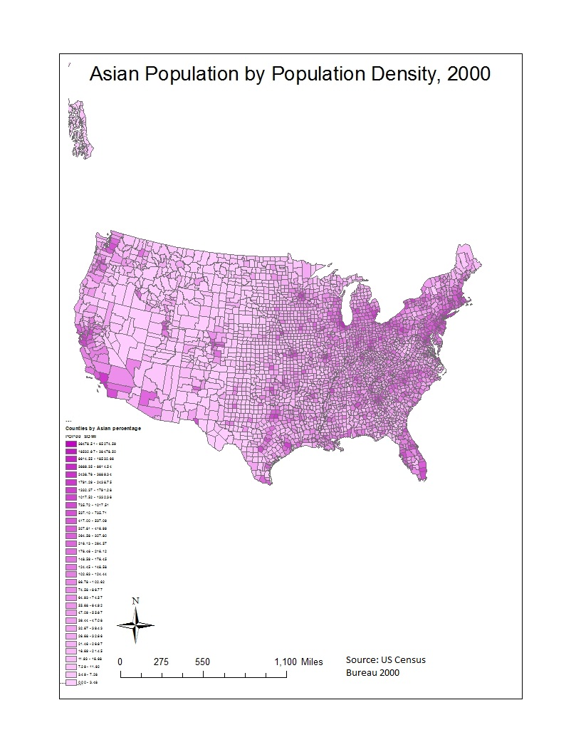 this map gives a visual representation of the asian population in the united states by density in the year 2000 the dark pink areas areas with the highest