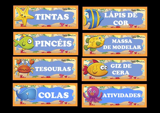 Etiquetas Fundo do Mar para organizar material escolar
