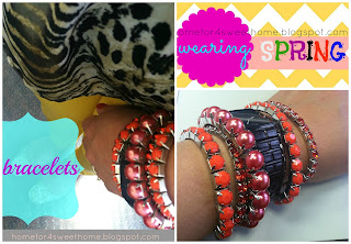 orange, pink and corral bracelets