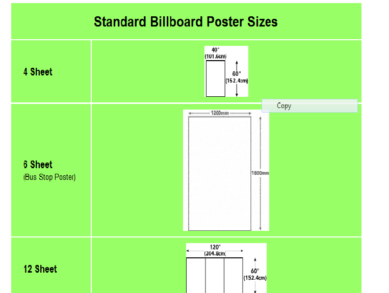 What is the size of a poster