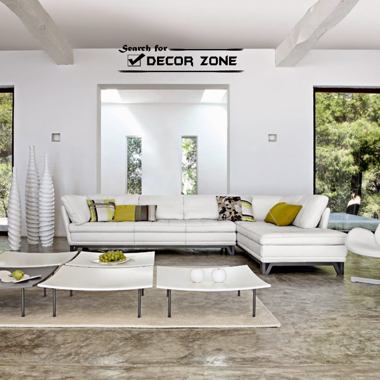 White Living Room Sofas And Coffee Table