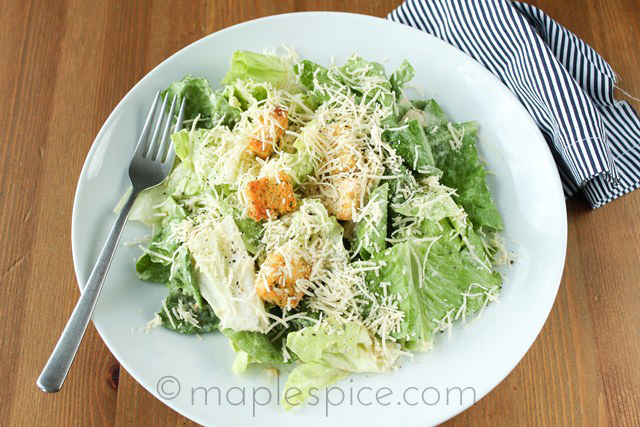 Vegan Caesar Salad with Garlic Bread Croutons.