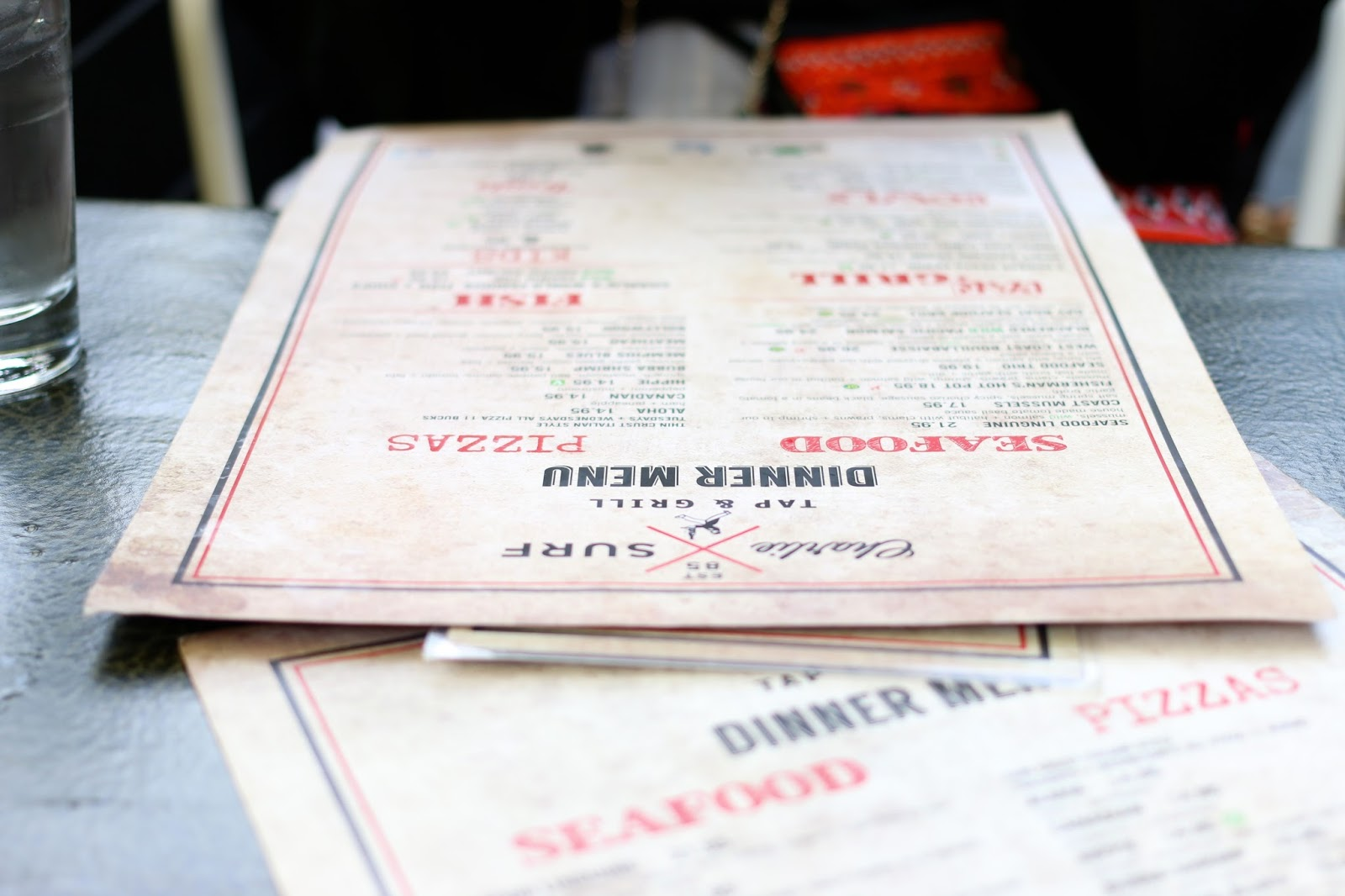 beautiful shot of simple restaurant menus in vancouver