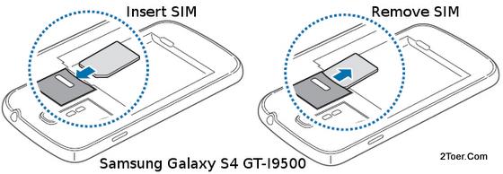 Samsung Galaxy S4 GT-I9500 Insert Remove SIM Card Slot