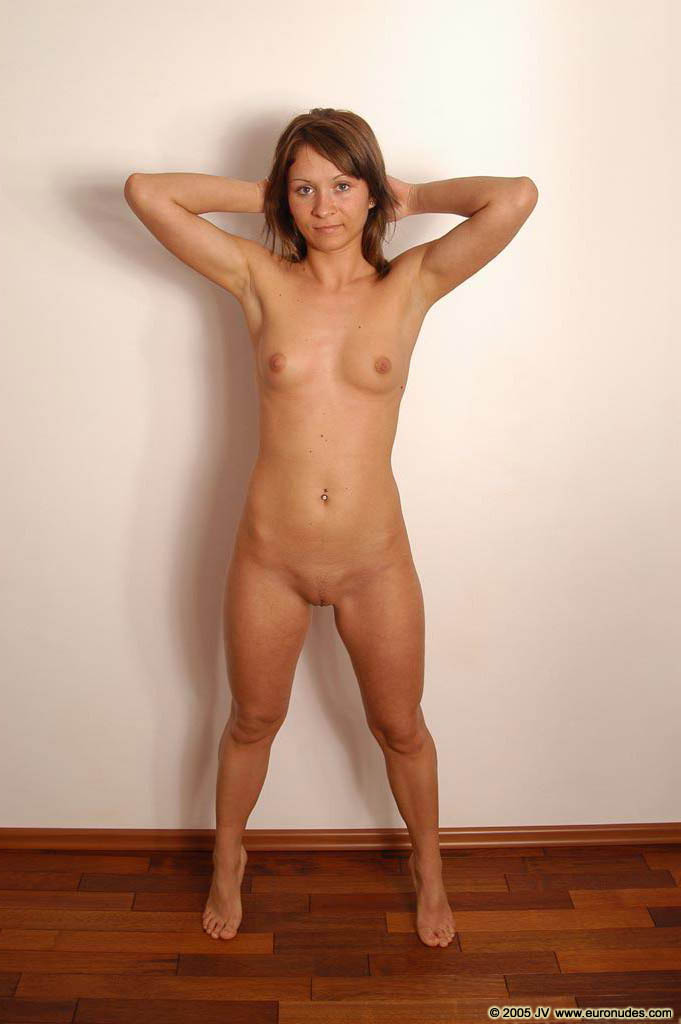 Nude hands behind head