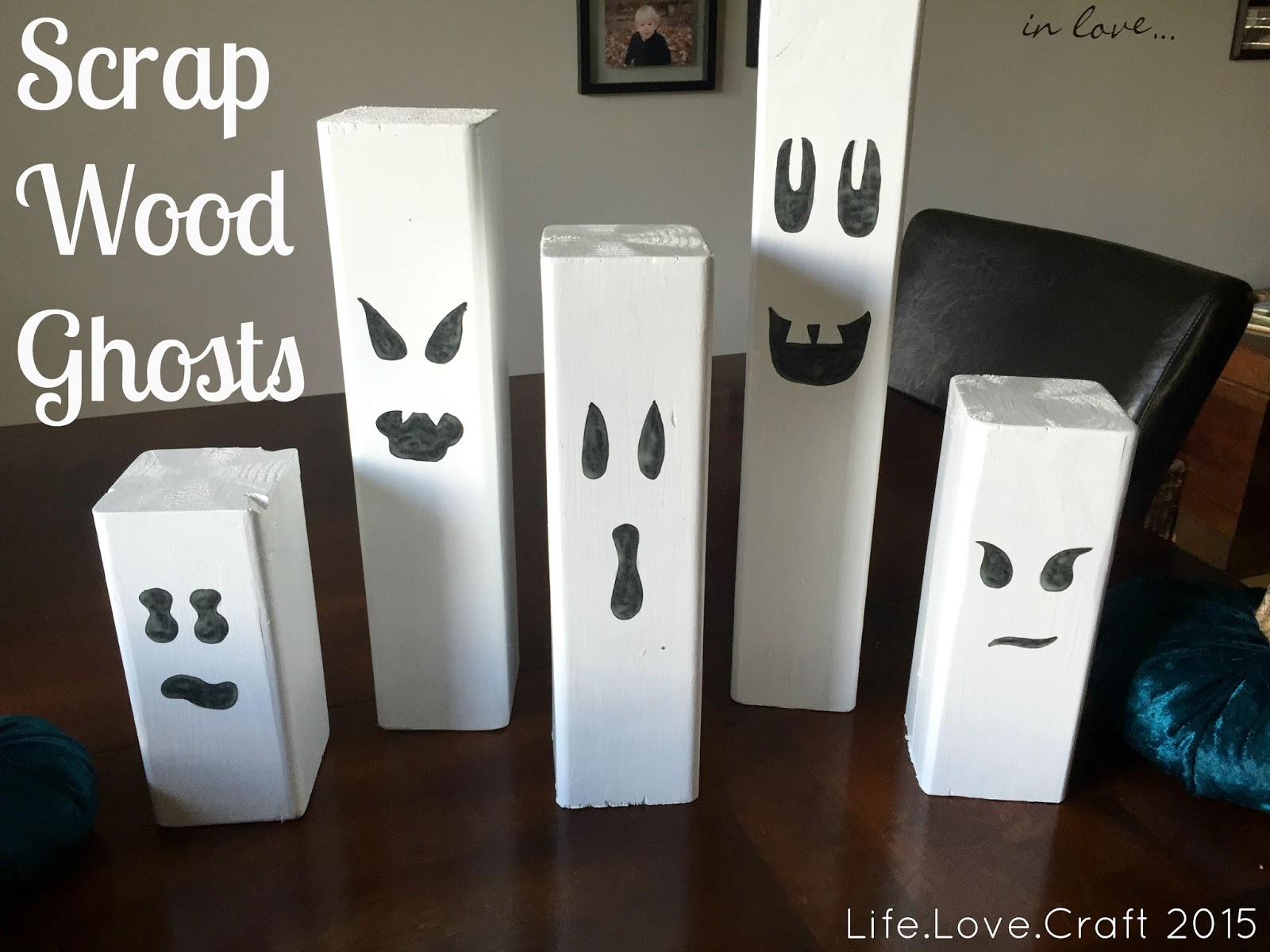 Paint for wood crafts -  Halloween Craft That Will Add A Fun And Spooky Element To Your House This Year All You Need Is Some Scrap Wood Sandpaper White Paint And Black Paint