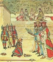 """Illustration from """"The Queen of Hearts"""" by Randolph Caldecott"""