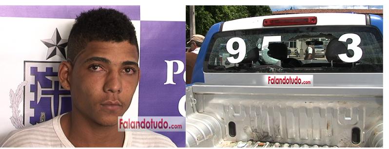 Homem é preso após quebrar vidro de viatura em Serra da Carnaiba