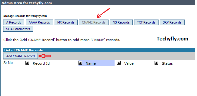 How to add cname record to bigrock