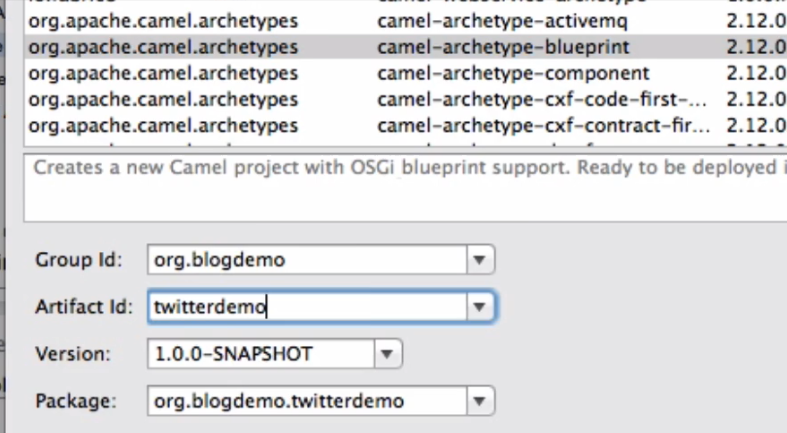Jboss fuse connecting to twitter and the aggregator pattern make sure you have installed jbds and the integration plugin go to jbds create a new blueprint fuse project enter group id and artifact id malvernweather Choice Image