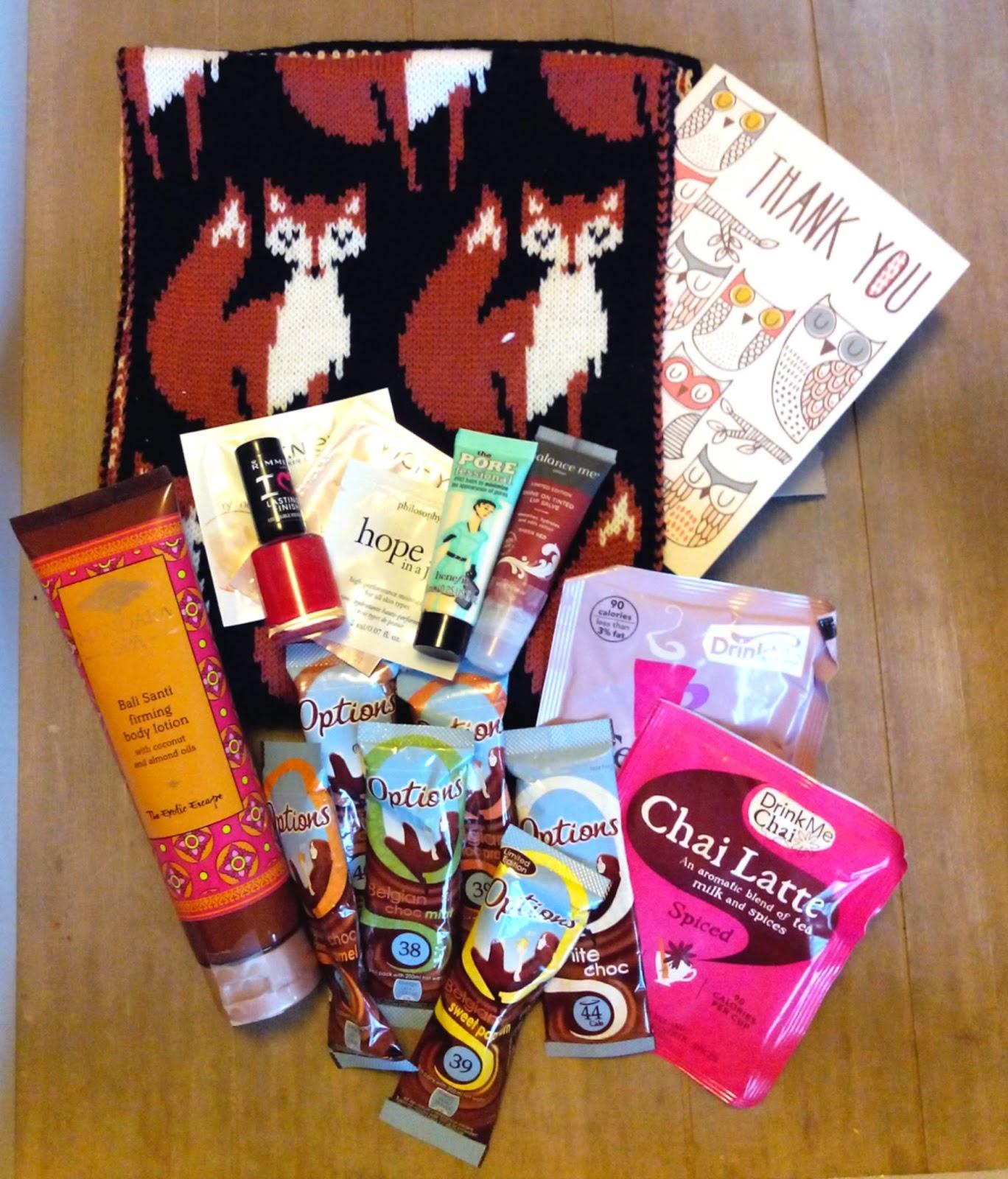 renard, écharpe, chocolat, cadeaux, bullelodie