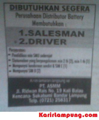Lowongan Kerja Driver PT ASMM Bandar Lampung