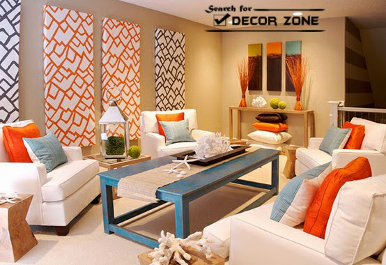 25 living room decorating ideas in bright colors for Bright wallpaper for living room